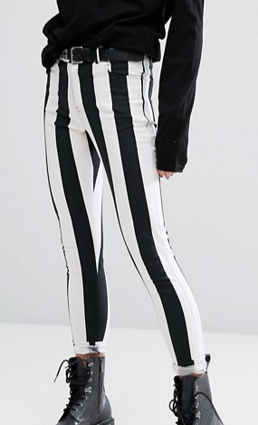 Motel Skinny Jeans In Monochrome Stripe