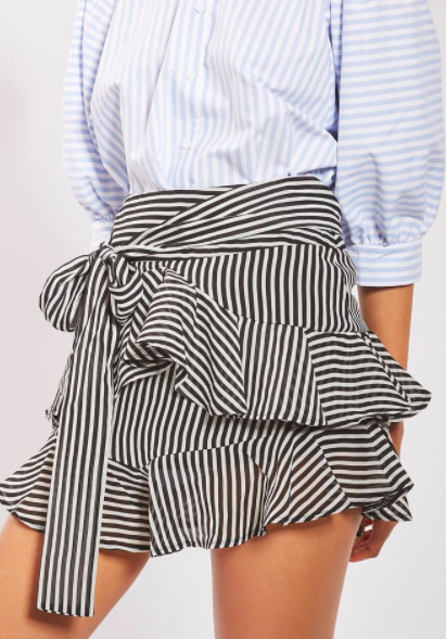 Topshop Stripe Ruffle Tie Mini Skirt