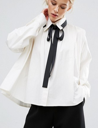 ZACRO Pleated Shirt With Contrast Tie