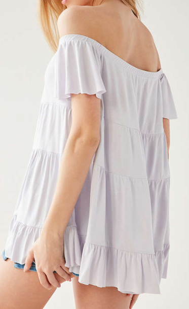 Kimchi Blue Eliza Ruffle Tiered Off-The-Shoulder Tee