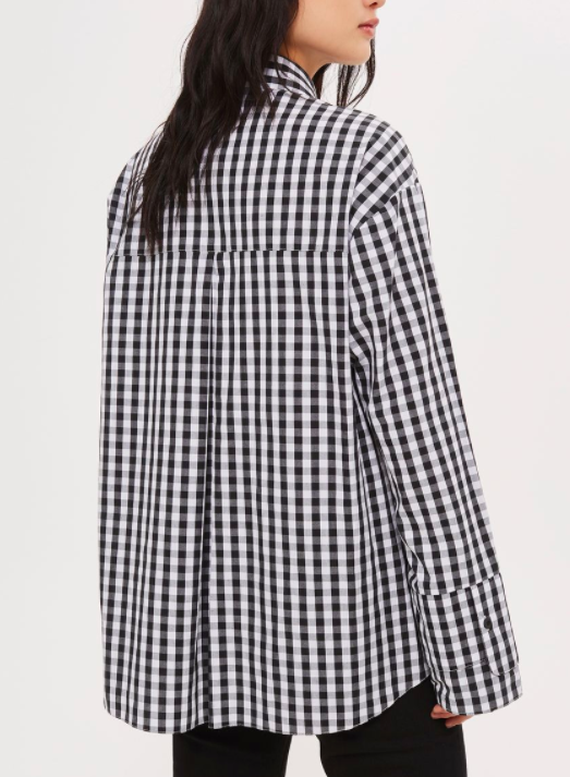 Topshop Gingham Double Cuff Shirt