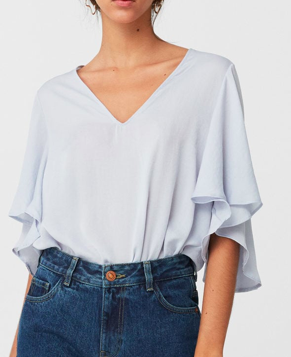 MANGO Ruffled sleeve bodysuit