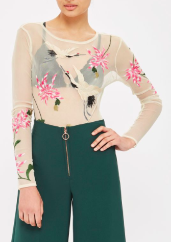 Topshop Bird Embroidered Bodysuit
