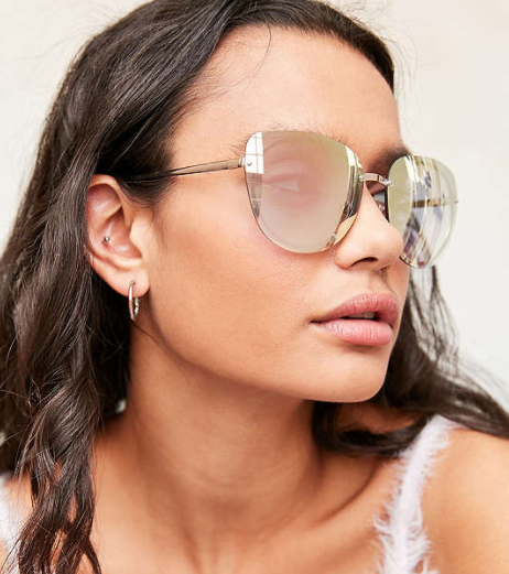 Rimless Cat-Eye Sunglasses