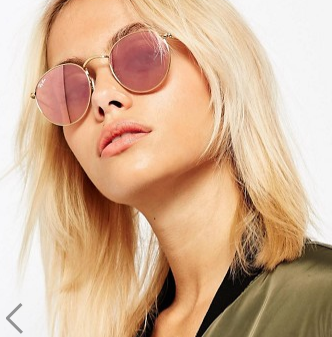 Ray-Ban Round Metal Flat Lens Mirror in Pink with Gold Frame