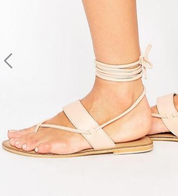 ASOS FLEW Tie Leg Leather Sandals