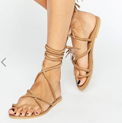 ASOS FALIA Suede Tie Leg Flat Sandals