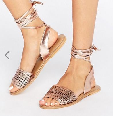 ASOS FLAIZ Leather Tie Leg Sandals