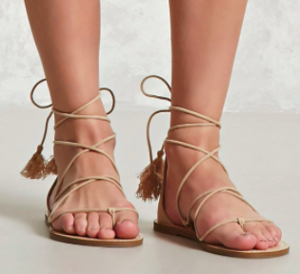 8ed770f574224 Forever 21 faux Suede Ankle-Wrap Sandals