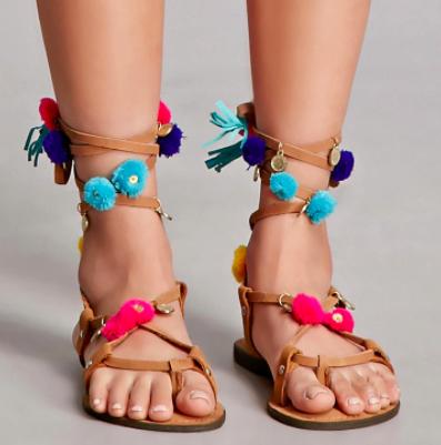 Z & L Europe Pom Pom Sandals