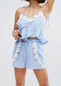 ASOS PETITE Chambray Pretty Beach Cami Top & Short Co-ord with Crochet Trim
