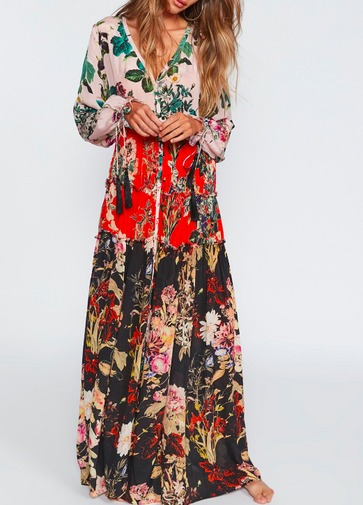 FP Mixed Floral Maxi Dress