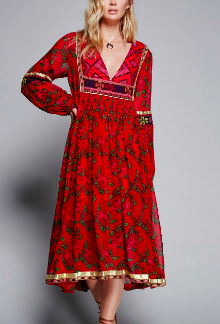 FP Bold Blooms Embroidered Dress