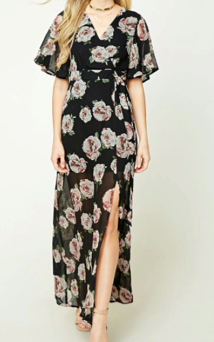 Forever 21 Surplice Floral Maxi Dress