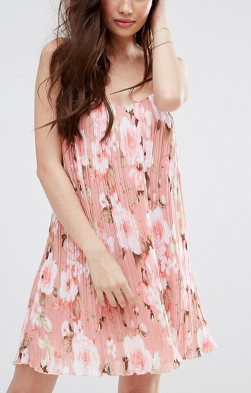 Missguided Floral Printed Plisse Slip Dress