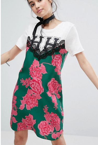 H! By Henry Holland T-Shirt Dress With Floral Cami Panel Detail