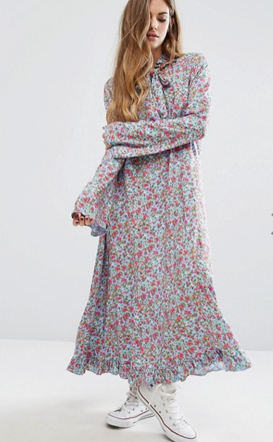 Reclaimed Vintage Flare Sleeve Maxi Dress In Print
