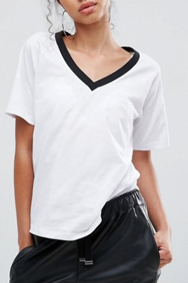 ASOS T-Shirt in Boyfriend Fit With Contrast V-Neck