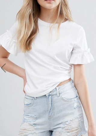 New Look Frill Sleeve T-Shirt