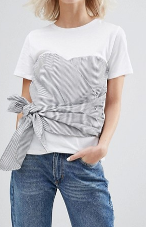 Pull&Bear Stripe Double Layer Corset Tie T-Shirt