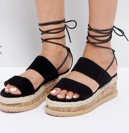 Lost Ink Black Cork Espadrille Flatform SandalsLost Ink Black Cork Espadrille Flatform Sandals