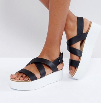 Mango Flatform Sandals With Strap Detail