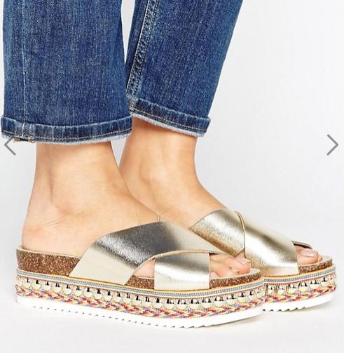 Carvela Kake Gold Leather Espadrille Flatform Slide Sandals
