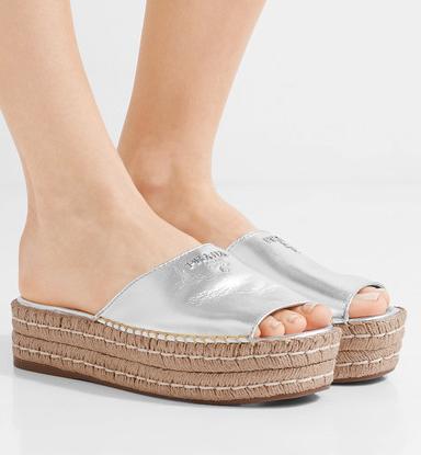PRADA Embellished metallic leather espadrille sandals