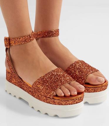 MIU MIU Glittered leather platform sandals