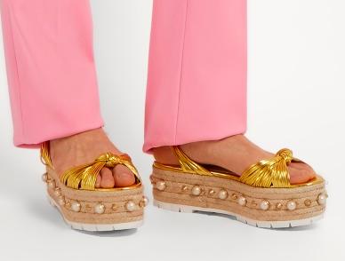 GUCCI  Pearl-embellished leather platform sandals