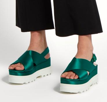 MIU MIU  Crossover satin flatform sandals