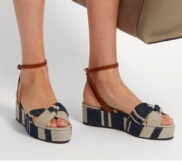 CASTAÑER  Angela linen flatform sandals