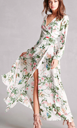 Forever 21 Reverse Floral Wrap Maxi Dress