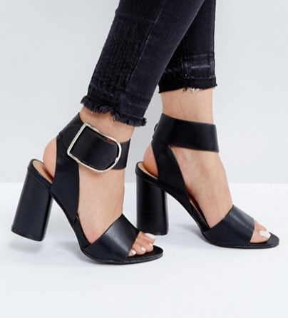 Boohoo Buckle Detail Block Heeled Sandal