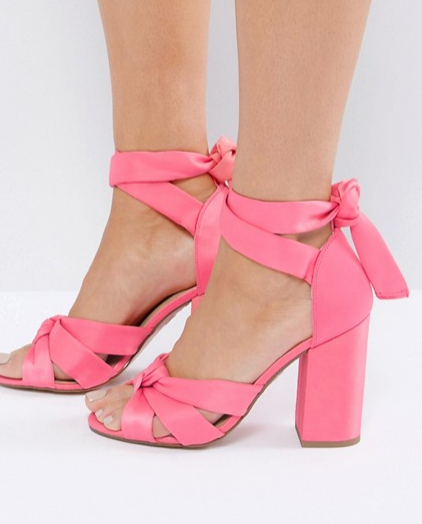 New Look Satin Wrap Around Block Heeled Sandals