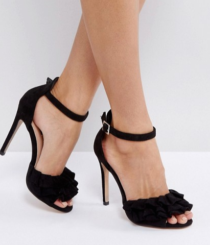Lost Ink Black Ruffle Heeled Sandals