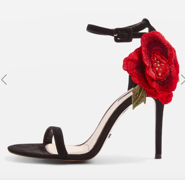 Topshop ROSEBUD Rose Applique Stiletto Sandals