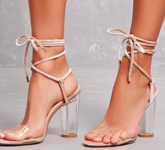 Forever 21 Velvet Ankle-Wrap Lucite Heels