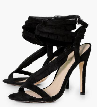 Boohoo Mollie Ruffle Trim Wrap Sandal