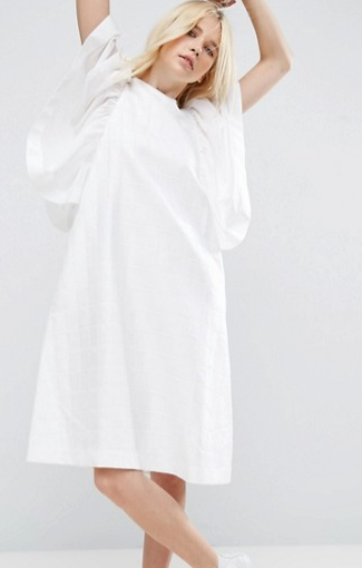 ASOS WHITE Frill Sleeve Textured A-Line Midi Dress