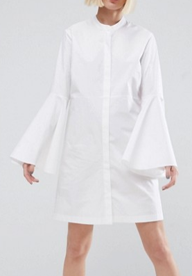 ASOS WHITE Bell Sleeve Mini Shirt Dress