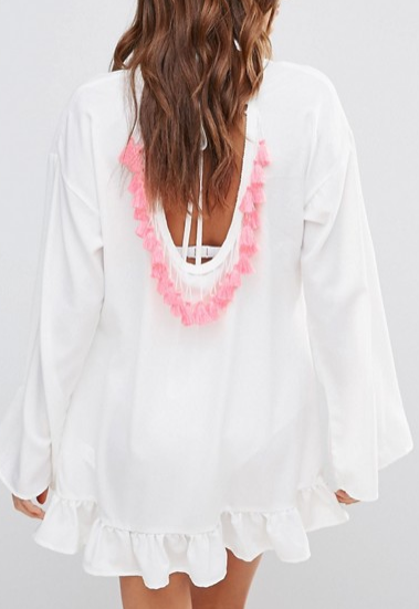 Boohoo Tassel Back Ruffle Smock Dress