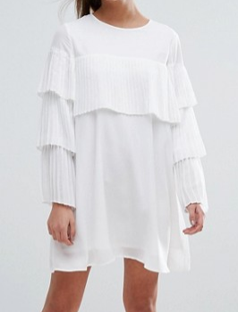 Boohoo Pleated Frill Smock Dress