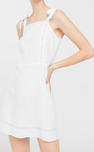 Mango Bow linen dress
