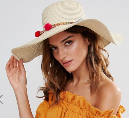 South Beach Straw Floppy Hat with Pom Pom Trim