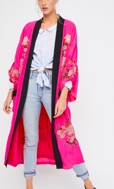 FP Floral Embroidered Kimono