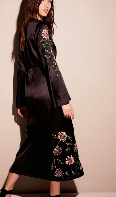 FP Embroidered Wrap Kimono Dress