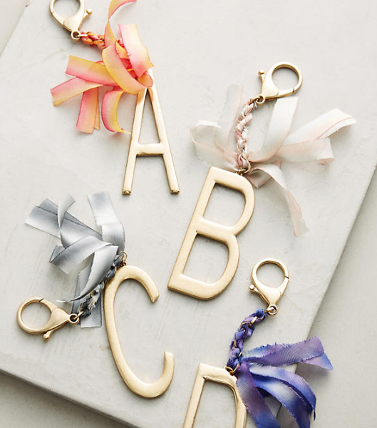 Anthropologie Ribboned Monogram Keychain
