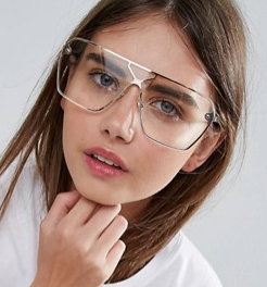 ASOS Rose Gold Visor Geeky Glasses With Clear Lens