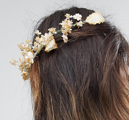 ASOS Soft Paper Flower Leaf Back Hair Clip